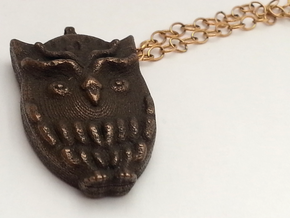 Aztec Owl Pendant in Polished Bronze Steel