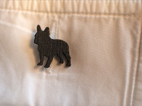 French Bulldog Cufflink in Matte Black Steel