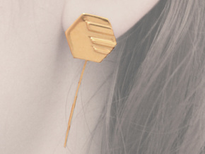 Hexagon Earstud in Polished Brass