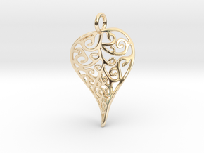 Fine Twisted Leaf Pendant in 14k Gold Plated Brass