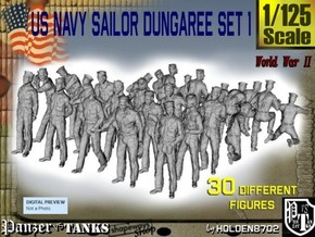 1/125 US Navy Dungaree Set 1 in Smooth Fine Detail Plastic