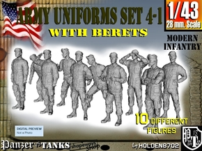 1-43 Army Modern Uniforms BERETS Set 4-1 in Frosted Ultra Detail