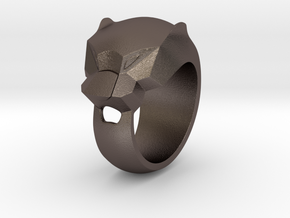 Panther Ring Size 7,2 Hallow in Polished Bronzed Silver Steel