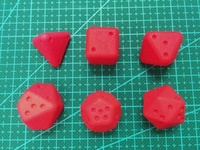 Pip D20 Dice Set (large) in Red Processed Versatile Plastic