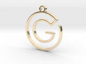 G Monogram Pendant in 14k Gold Plated Brass