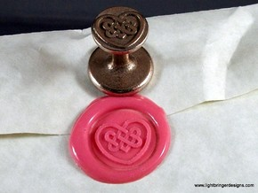 Celtic Heart Wax Seal in Polished Bronzed Silver Steel