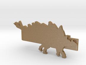 Stegosaurus Tie Clip in Matte Gold Steel