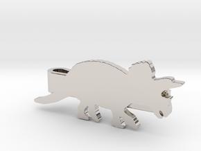 Triceratops Tie Clip in Platinum