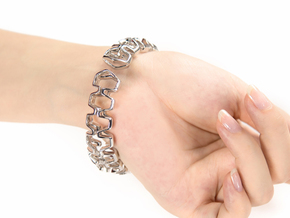 HD Bracelet, Medium Size, 65mm in Rhodium Plated Brass: Medium