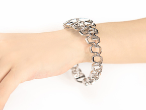 HD Bracelet, Medium Size, d=65. Strong, Bold, Uniq in Rhodium Plated Brass: Medium