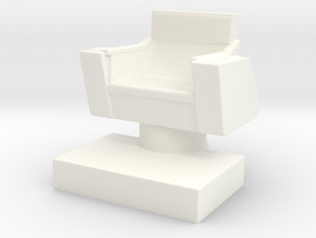 Game piece captain's chair in White Strong & Flexible Polished