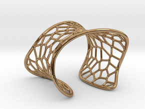 Voronoi Cuff Bracelet in Polished Brass