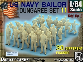 1-64 US Navy Dungaree Set 11 in Smooth Fine Detail Plastic