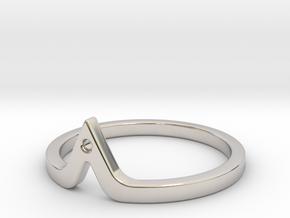 Corner Ring in Rhodium Plated Brass