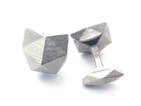 Faceted Cat Face Cufflink in Polished Nickel Steel