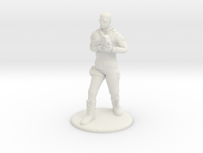 Soldier Standing with P90 - 20 mm in White Natural Versatile Plastic