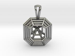 3D Printed Diamond Asscher Cut Pendant  in Natural Silver