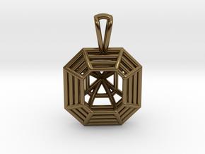 3D Printed Diamond Asscher Cut Pendant  in Polished Bronze