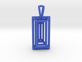 3D Printed Diamond Baugette Cut Pendant (Larger) in Blue Processed Versatile Plastic