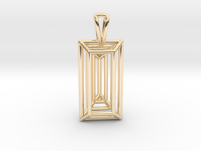 3D Printed Diamond Baugette Cut Pendant (Larger) in 14k Gold Plated Brass