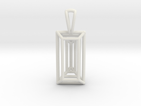 3D Printed Diamond Baugette Cut Pendant (Small) in White Strong & Flexible