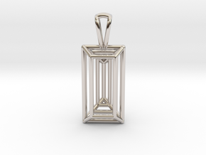 3D Printed Diamond Baugette Cut Pendant (Small) in Rhodium Plated Brass