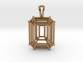 3D Printed Diamond Emerald Cut Pendant (Small)  in Polished Brass