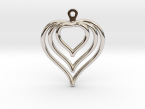 3D Printed Wired Love Yourself Heart Earrings in Rhodium Plated Brass