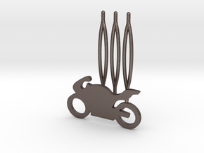 Motorbike decorative hair comb - small size  in Polished Bronzed Silver Steel