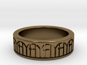 3D Printed Harmony Ring Size 7 by bondswell3D in Polished Bronze