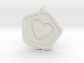 3D Printed Bond What You Love Pendant in White Strong & Flexible