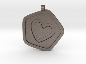3D Printed Bond What You Love Pendant in Polished Bronzed Silver Steel