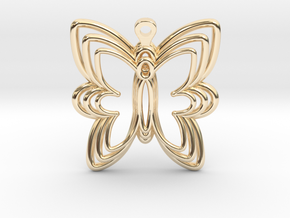 3D Printed Wired Butterfly Earrings  in 14k Gold Plated Brass
