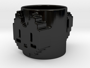 8 Bit Cat Mug in Gloss Black Porcelain