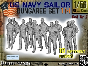 1-56 US Navy Dungaree Set 11-1 in Smooth Fine Detail Plastic