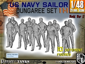 1-48 US Navy Dungaree Set 11-1 in Smooth Fine Detail Plastic