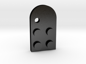 Lego Mathing Couple Necklace: Left Hole in Matte Black Steel