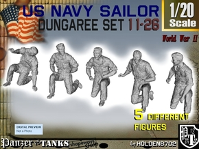 1-20 US Navy Dungaree Set 11-26 in White Strong & Flexible