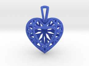 3D Printed Diamond Heart Cut Pendant (Small) in Blue Strong & Flexible Polished