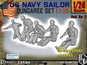1-24 US Navy Dungaree Set 11-35 in White Strong & Flexible