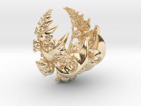 Fleur-de-lis Fractal Pendant in 14k Gold Plated Brass