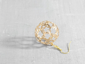 Earrings (set) Flower Ball 28 in Polished Bronze