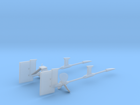 1/125 Props SET supports And Rudders in Smooth Fine Detail Plastic