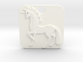 Unicorn Pendant in White Processed Versatile Plastic