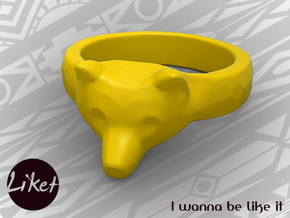 Wild Bear Ring size 5 in Yellow Processed Versatile Plastic