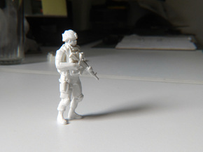 Modern Soldier Standing in White Strong & Flexible