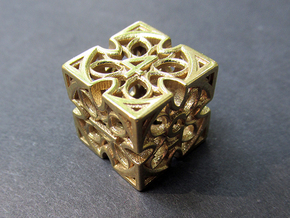 Gothic Rosette d6 in Natural Brass