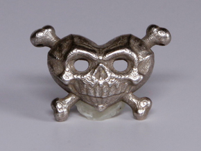 Skull Heart  in Polished Bronzed Silver Steel