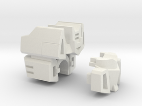 Communications Officer Head for CW Deluxe Truck in White Natural Versatile Plastic