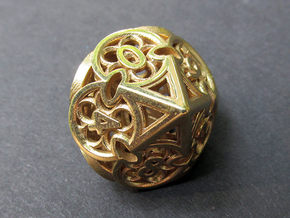 Gothic Rosette d10 in Polished Brass